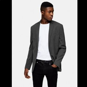 Charcoal Single Breasted Skinny Fit Suit Blazer